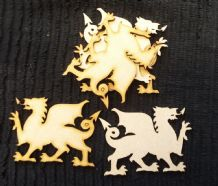 wooden craft welsh dragon shapes, laser cut 3mm mdf embellishments, decoupage,